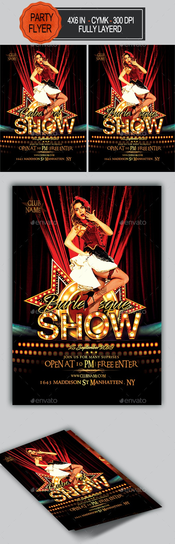 Burlesque and Cabaret Flyer - Clubs & Parties Events