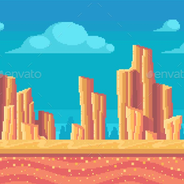 Pixel Art Desert At Day Seamless Background