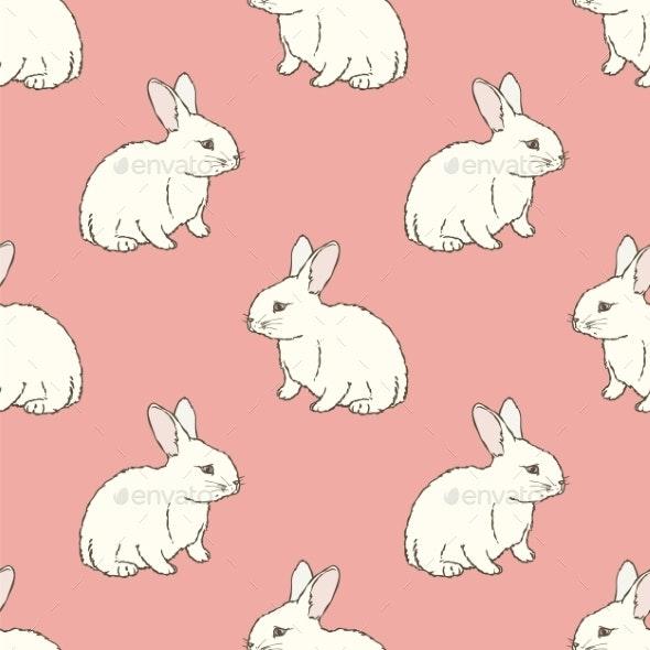 Rabbit Seamless Pattern - Animals Characters