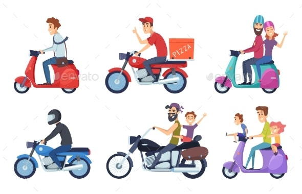 Motorcycle Driving. Man Rides with Woman and Kids - People Characters