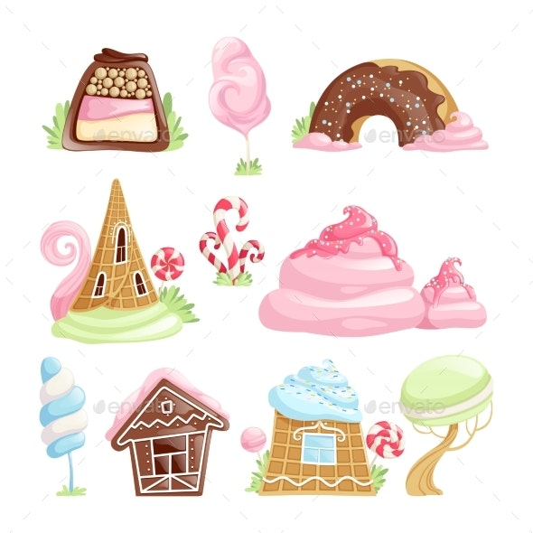 Fantasy Desserts. Chocolate Caramel Biscuits Jelly - Objects Vectors