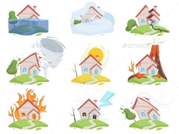 Nature Disaster Damage. Fire Volcano Water Wind - Buildings Objects