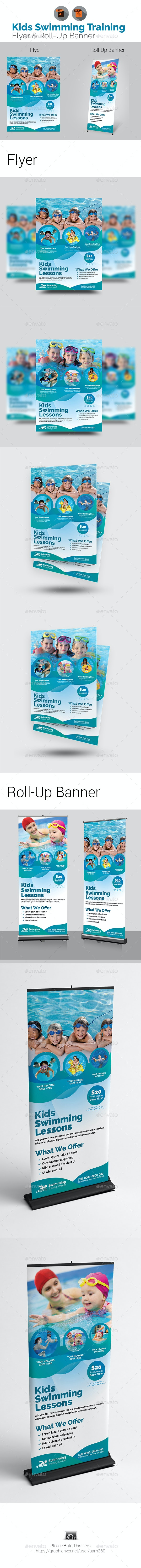 Kids Swimming Lessons Flyer with Roll-Up Bundle - Sports Events