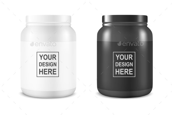 Vector Realistic White and Black Plastic Jar - Food Objects