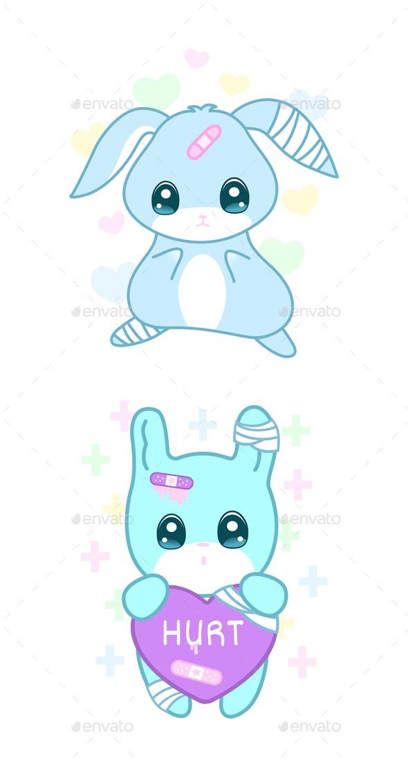 Suffering Rabbit In Yami Kawaii Style - Animals Characters