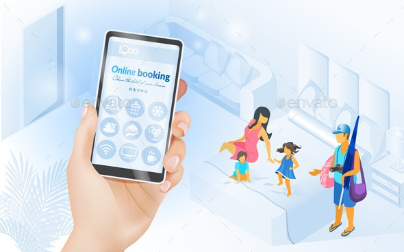 Online Services for Tourists Isometric Vector - Technology Conceptual
