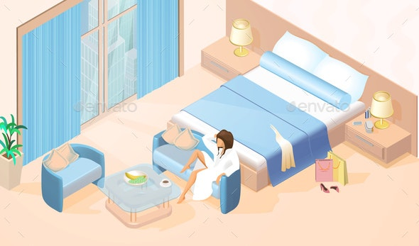 Woman Resting in Hotel Room Isometric Vector - People Characters