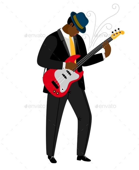 Jazz Guitarist in Hat with Musical Instrument - People Characters