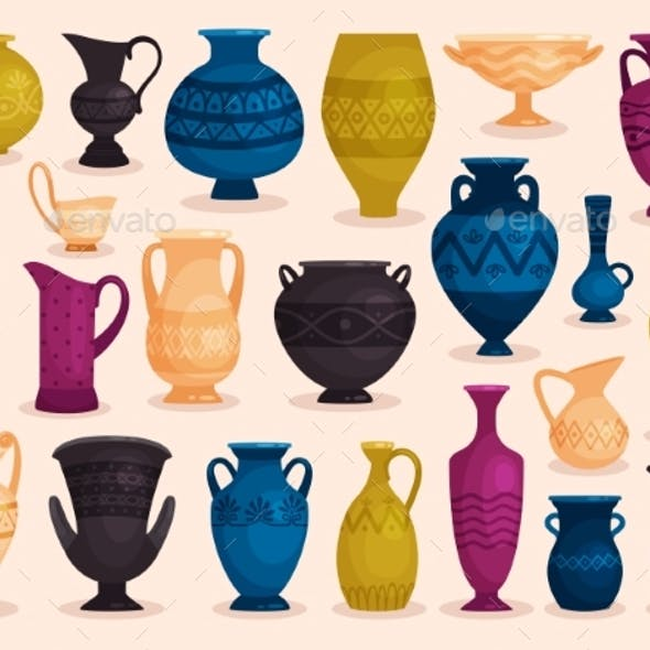 Set of Colored Antique Vases. Vector Illustration