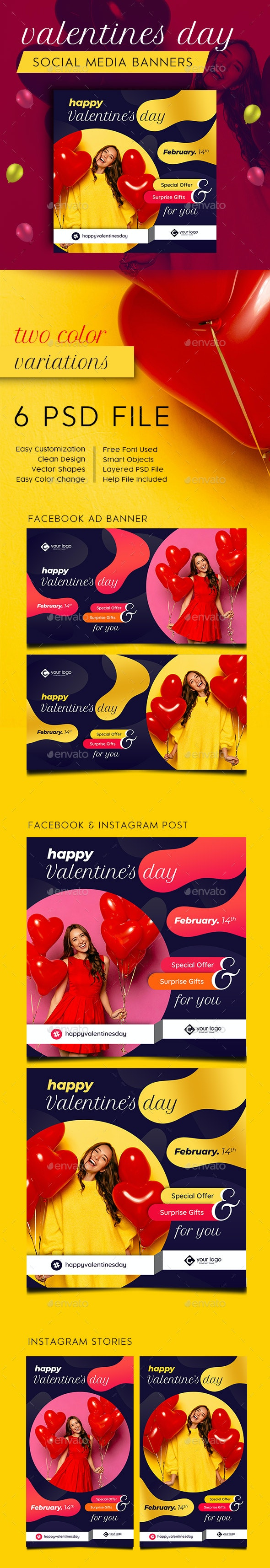 Valentines Day Facebook and Instagram Banner Set - Social Media Web Elements