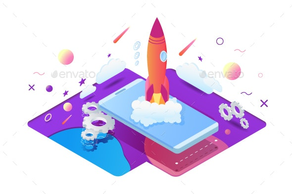 Isometric Start Up Project with Rocket - Concepts Business