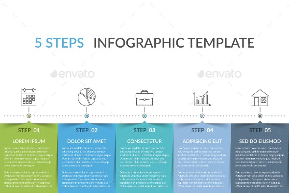 Infographic Template with 5 Elements - Infographics