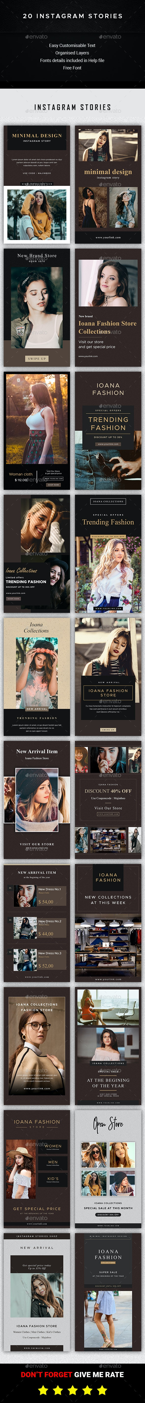 20 Instagram stories - Social Media Web Elements