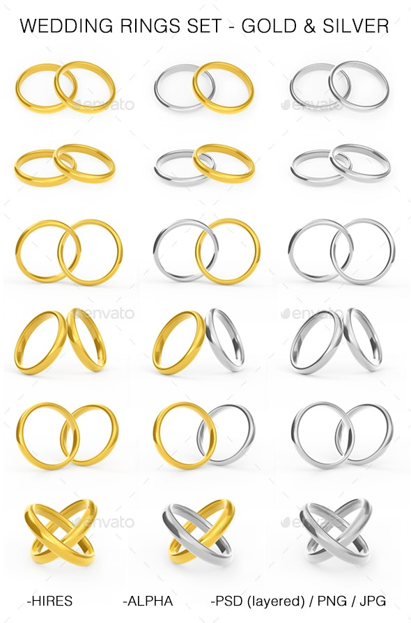 Wedding Rings Set, Isolated, Gold and Silver - 3D Backgrounds