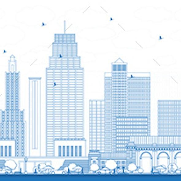 Outline Kansas City Missouri Skyline with Blue Buildings