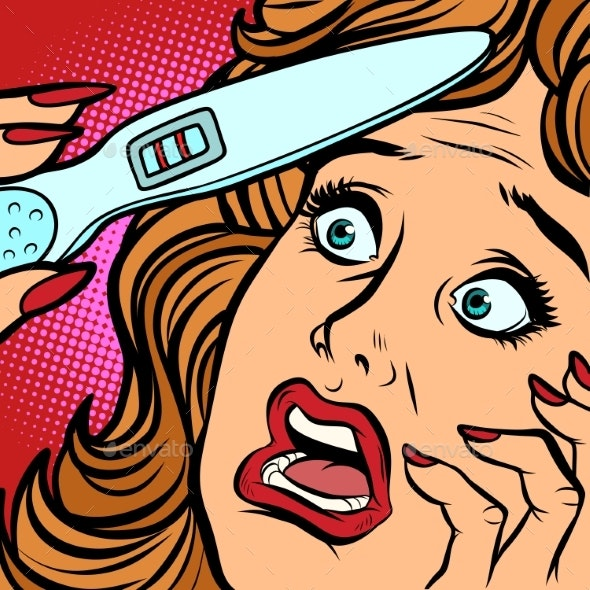 Pregnancy Test Two Strips Woman Fear Face - Health/Medicine Conceptual