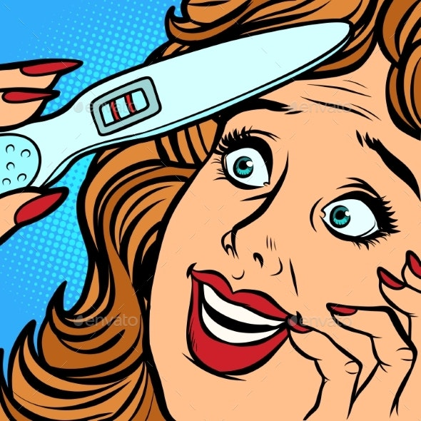 Pregnancy Test Two Strips Woman Happiness Face - Health/Medicine Conceptual