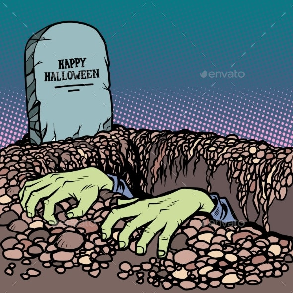 Zombie Hands Happy Halloween Grave - Halloween Seasons/Holidays