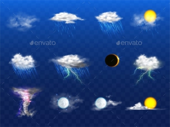 Vector Realistic Weather Forecast - Landscapes Nature