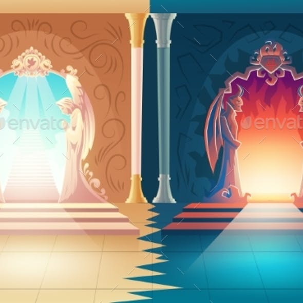 Vector Heaven and Hell Gates Afterlife Entrance