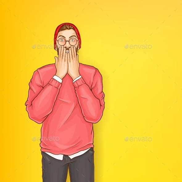 Vector Shocked Man Hipster with Raised Hands