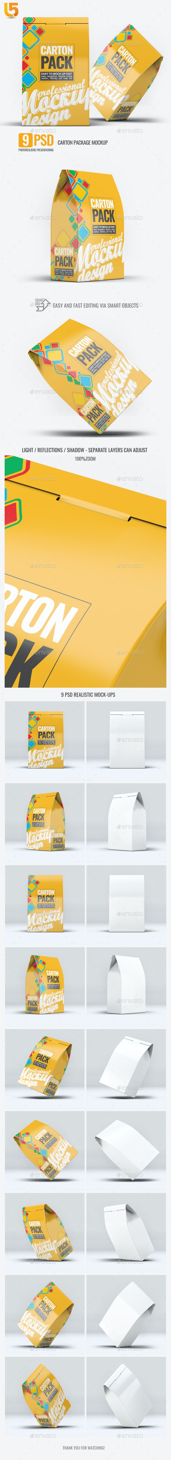 Carton Box Pack Mock-Up - Food and Drink Packaging