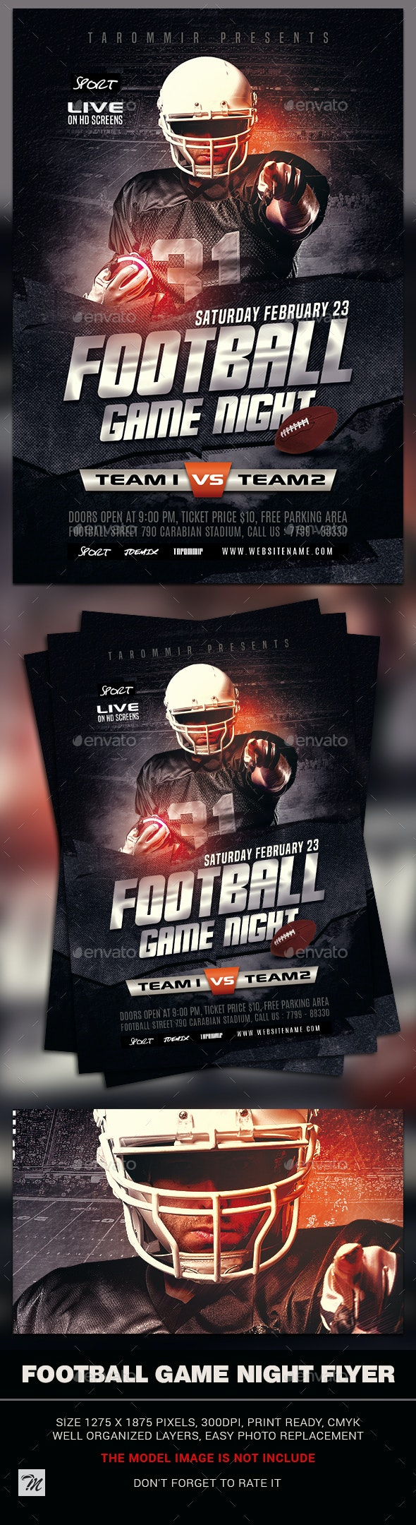 Football Game Night Flyer - Sports Events