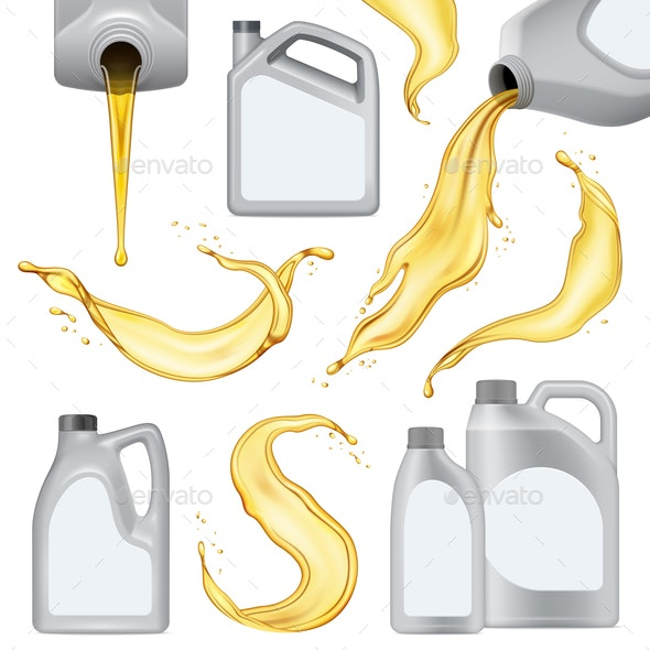 Realistic Motor Oil Icon Set - Industries Business