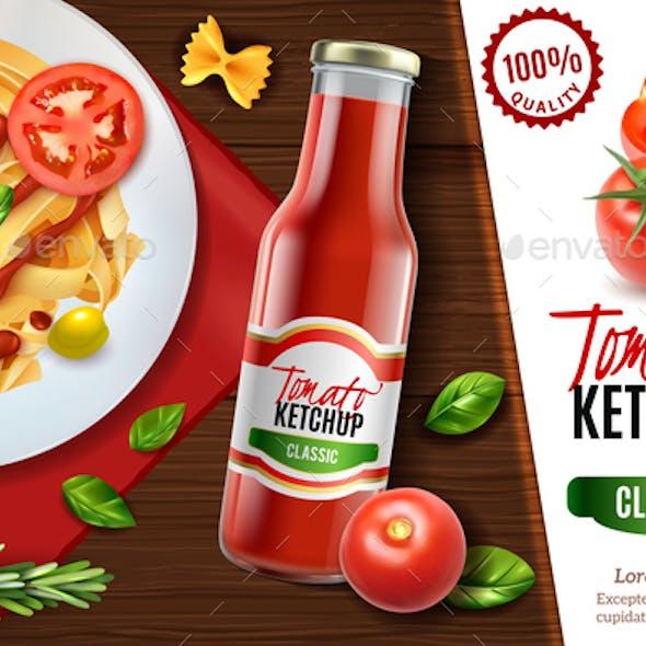 Realistic Tomato Ketchup Advertising
