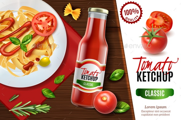 Realistic Tomato Ketchup Advertising - Patterns Decorative
