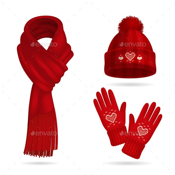 Winter Red Knitwear Set - Miscellaneous Vectors