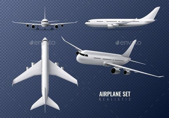 Airplane Realistic Transparent Set - Miscellaneous Vectors