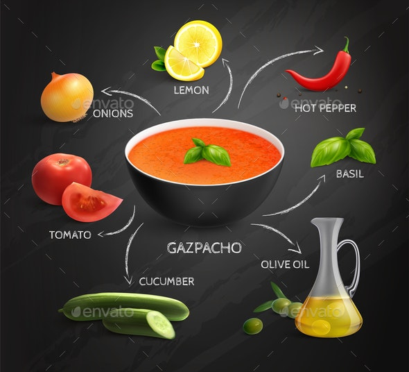 Gazpacho Recipe Infographics Layout - Food Objects
