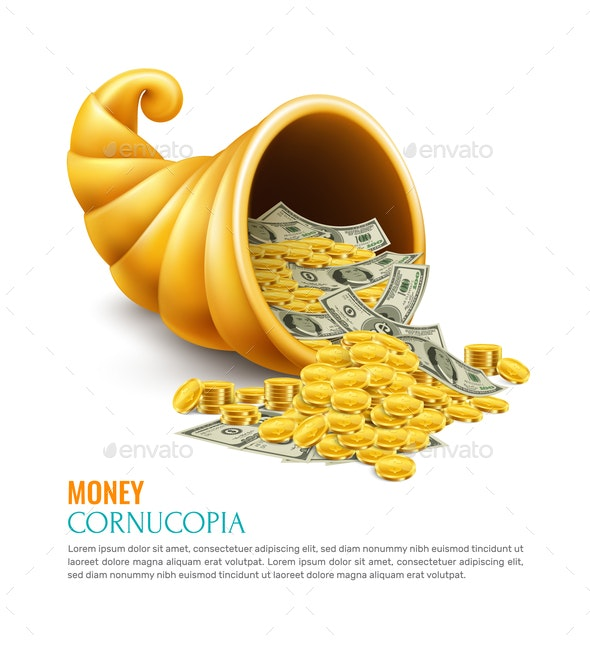 Money Cornucopia Realistic Design Concept - Business Conceptual