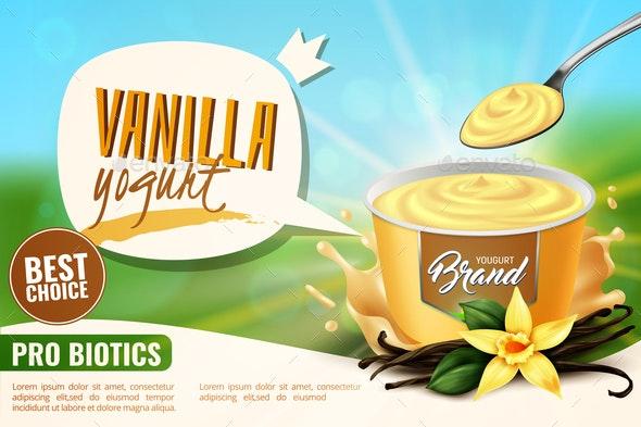 Vanilla Yogurt  Ad Realistic - Food Objects