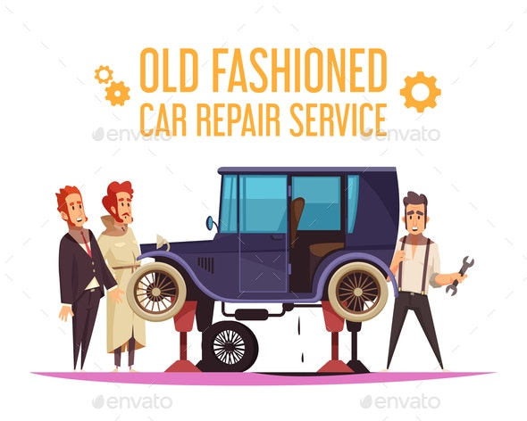 Old Fashioned Car Cartoon Illustration - People Characters