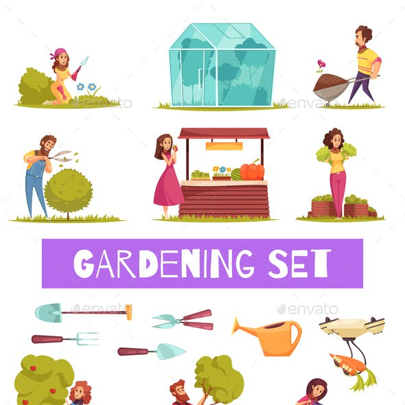 Gardening Cartoon Icons Set