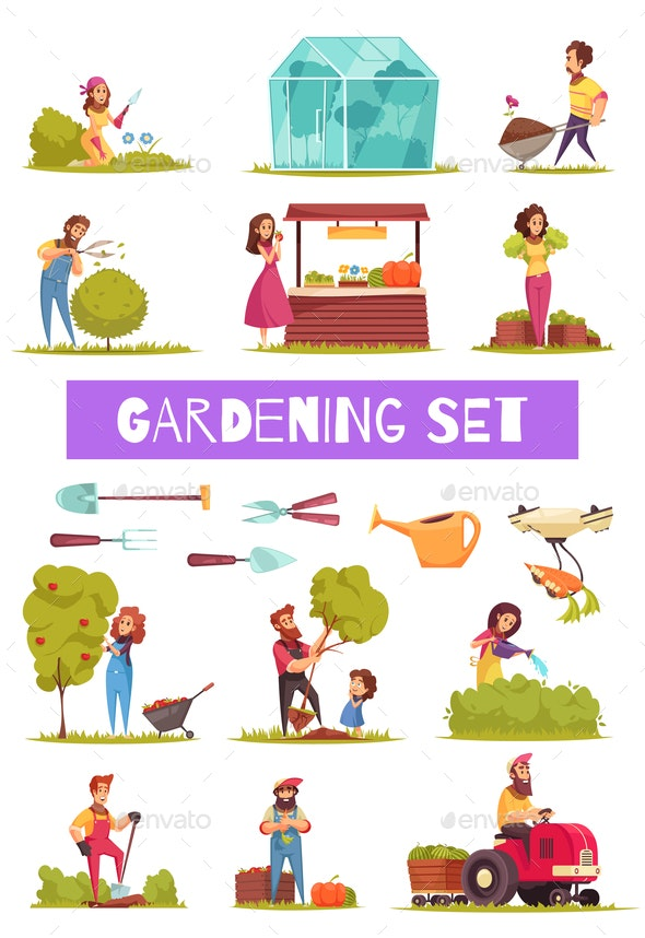 Gardening Cartoon Icons Set - People Characters