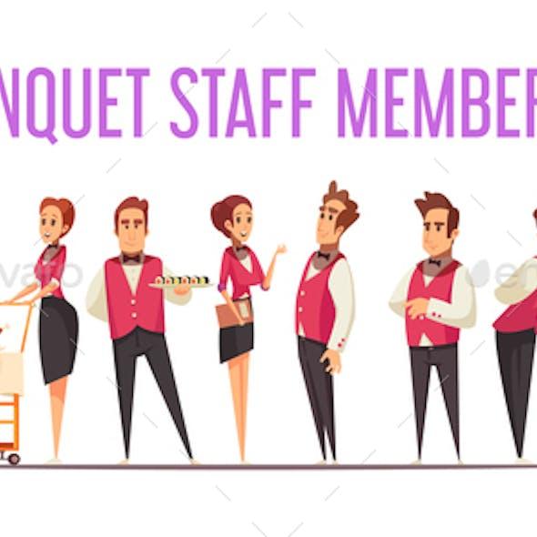 Banquet Staff Members Cartoon Illustration