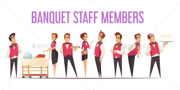 Banquet Staff Members Cartoon Illustration - Food Objects