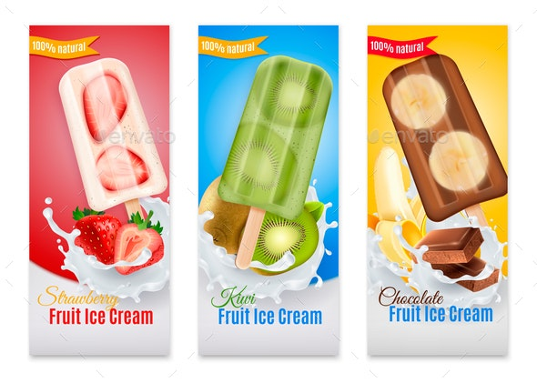 Fruit Ice Cream Realistic Banners - Business Conceptual