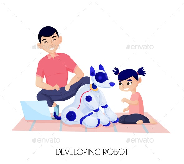 Robot For Child Development Illustration - People Characters