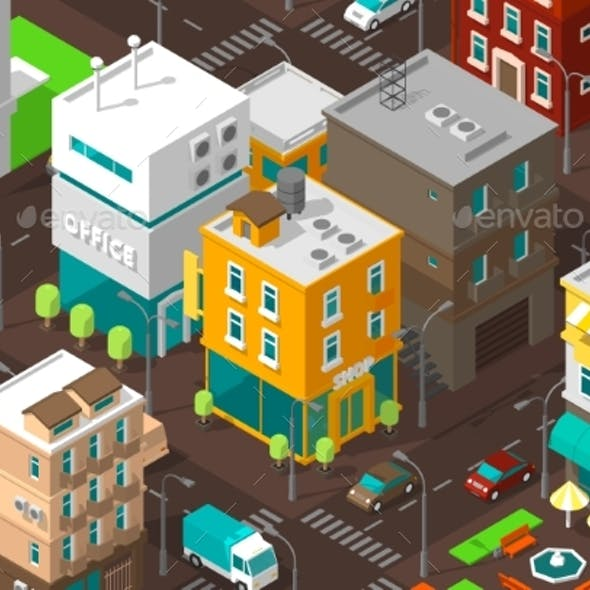 Town District Street Isometric Road Intersection