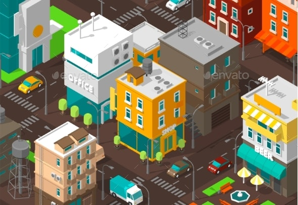 Town District Street Isometric Road Intersection - Buildings Objects