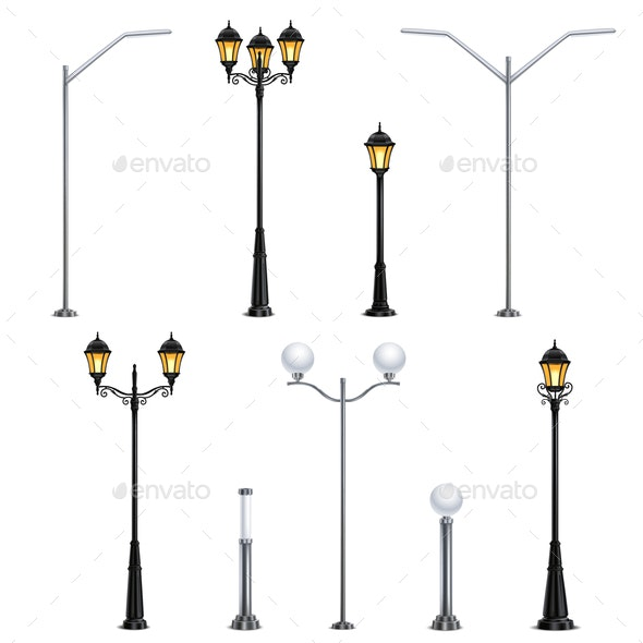 Street Lights Realistic Icon Set - Miscellaneous Vectors