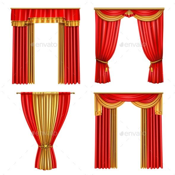 Luxury Curtains Realistic Icon Set - Miscellaneous Vectors