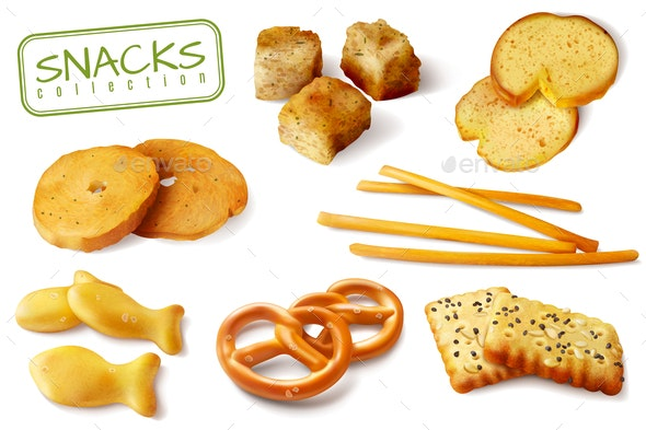 Croutons Crackers Snacks Set - Food Objects