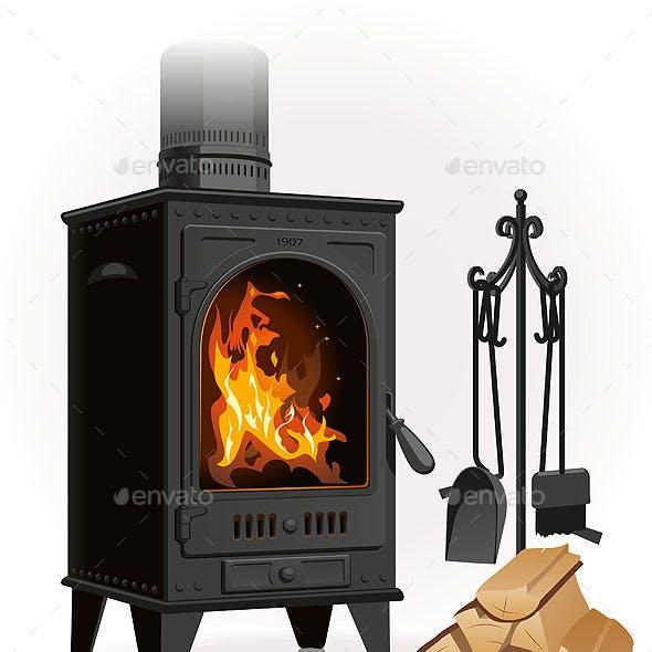 Old Metal Fireplace
