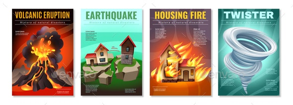 Natural Disasters Posters Set - Buildings Objects