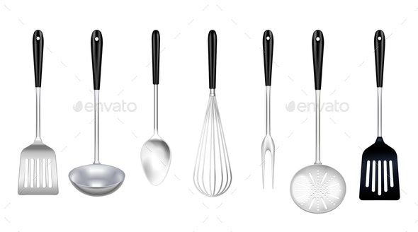 Cooking Tools Realistic Set - Backgrounds Decorative